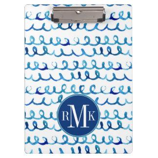 Porte-bloc Profil onduleux d'aquarelle bleue peinte à la main