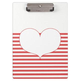 Porte-bloc Rayures et coeur rouges et blancs