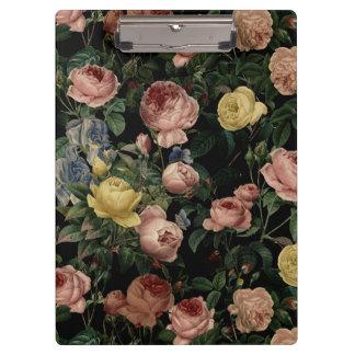 Porte-bloc Roses vintages de fleur et rêves Motif-Foncés