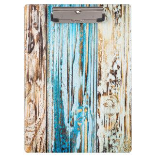 Porte-bloc texture bleue affligée de fibre de bois
