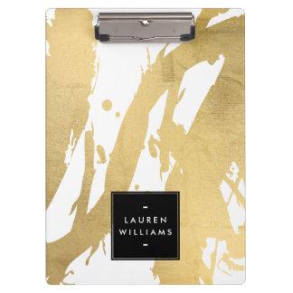 Porte-bloc Traçages abstraits d'or de Faux sur le blanc