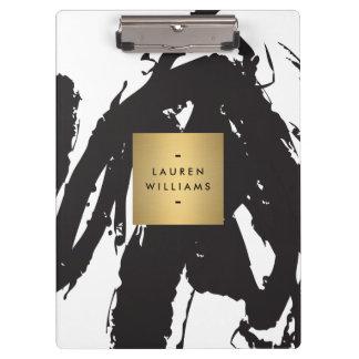 Porte-bloc Traçages noirs abstraits avec le logo de nom d'or