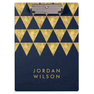 Porte-bloc Triangle élégante bleu-foncé chic et de Faux d'or