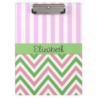 Porte-bloc Votre nom - motif de zigzag, Chevron - rose vert