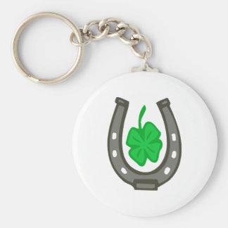Porte-bonheur de fers à cheval feuille de trèfle porte-clé rond