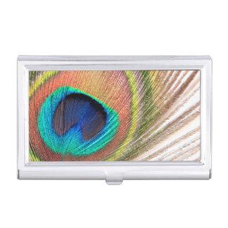 Porte-cartes de carte de visite de plume de paon étui pour cartes de visite