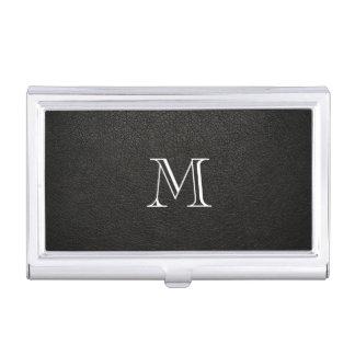 Porte-cartes de carte de visite en cuir noir de porte-cartes de visite