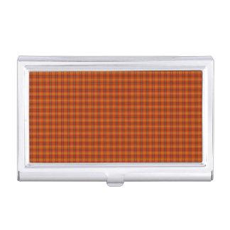 Porte-cartes de carte de visite orange de tartan porte-cartes de visite