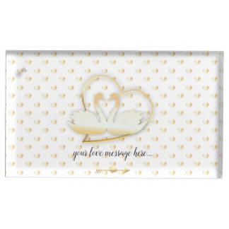Porte-cartes De Placement Cygnes d'or de coeur, amour doux