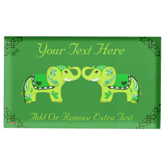 Porte-cartes De Placement Éléphant de henné (vert/vert de chaux)