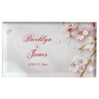 Porte-cartes De Placement Porte-cartes blanc de Tableau de mariage de fleurs