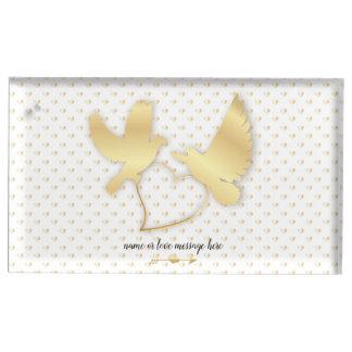 Porte-cartes De Table Colombes d'or avec un coeur d'or, amour doux