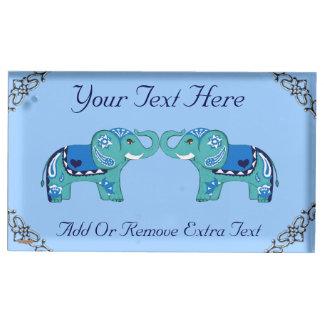 Porte-cartes De Table Éléphant de henné (bleu/bleu-clair)