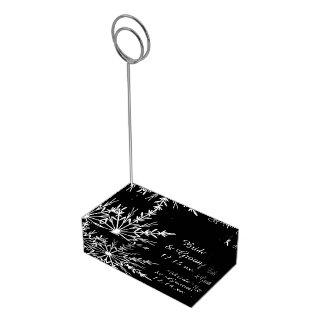 Porte-cartes De Table Mariage noir et blanc d'hiver de flocon de neige