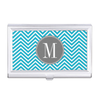 Porte-cartes De Visite Aqua et monogramme gris de coutume de motif de
