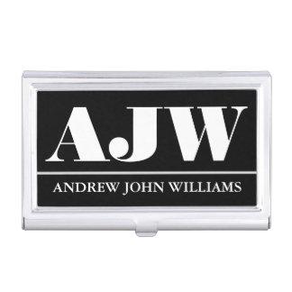 Porte-cartes De Visite Blanc noir masculin de monogramme professionnel