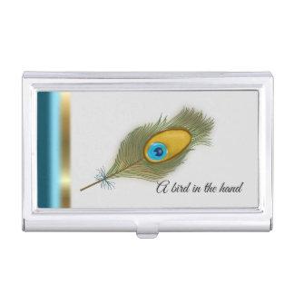 Porte-cartes De Visite Bordure de plume, de turquoise et de paon