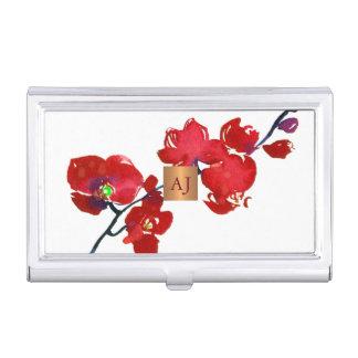 Porte-cartes De Visite Carré fascinant d'en cuivre d'aquarelle florale