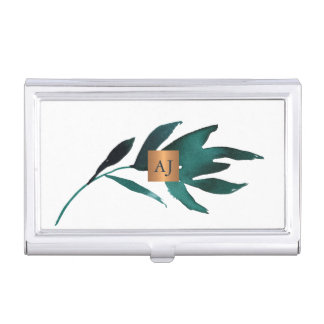 Porte-cartes De Visite Carré fascinant d'en cuivre de feuille décorée
