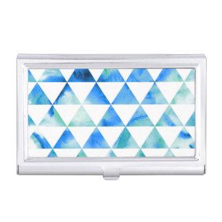 Porte-cartes De Visite Conception bleue de triangle d'aquarelle