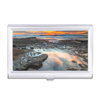 Porte-cartes De Visite Coucher du soleil des piscines de marée