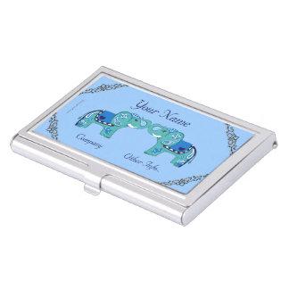 Porte-cartes De Visite Éléphant de henné (bleu/bleu-clair)