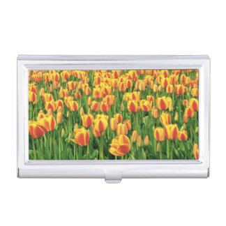 Porte-cartes De Visite Fleur de tulipes de ressort devant la vieille