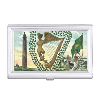 Porte-cartes De Visite Illustration vintage d'harpe de femme de shamrock