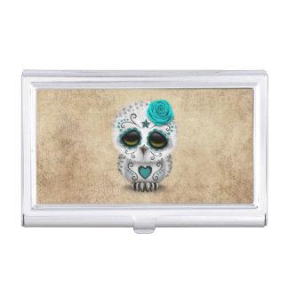 Porte-cartes De Visite Jour turquoise mignon du hibou mort de crâne de