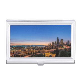 Porte-cartes De Visite L'autoroute I-5 et Seattle du centre au crépuscule