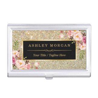 Porte-cartes De Visite Le beau scintillement d'or miroite décor floral