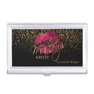 Porte-cartes De Visite Lèvres de scintillement de roses indien et