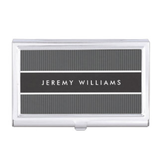 Porte-cartes De Visite Masculin gris-foncé et noir moderne personnalisé