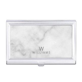 Porte-cartes De Visite Monogramme de marbre blanc minimaliste moderne