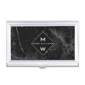 Porte-cartes De Visite Monogramme de marbre noir professionnel moderne