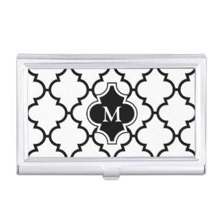 Porte-cartes De Visite Monogramme sur le motif blanc noir de Quatrefoil