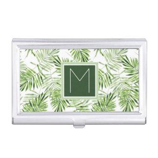 Porte-cartes De Visite Monogramme vert des palmettes |