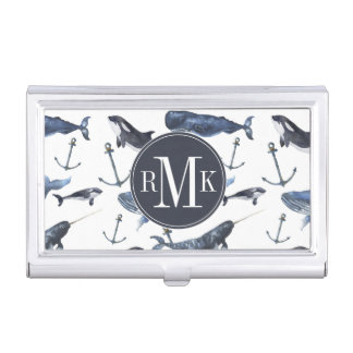 Porte-cartes De Visite Motif de baleine et d'ancre d'aquarelle