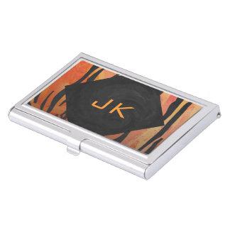 Porte-cartes De Visite Motif orange de tigre de monogramme et noir chaud