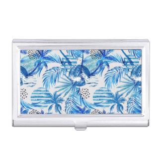 Porte-cartes De Visite Motif tropical bleu lumineux d'aquarelle