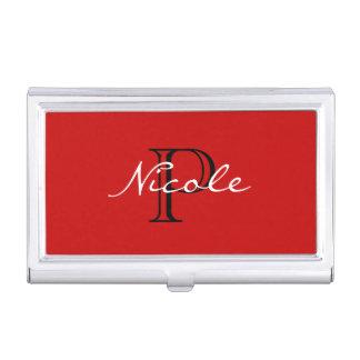 Porte-cartes De Visite Noir et blanc rouge de ~ décoré d'un monogramme