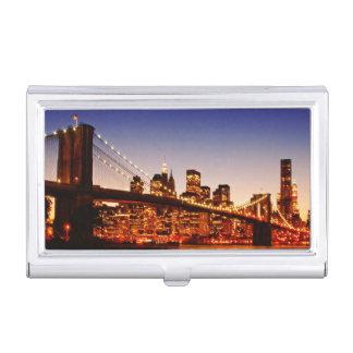 Porte-cartes De Visite Paysage urbain de New York avec le pont au-dessus