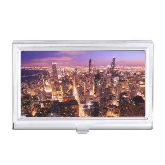 Porte-cartes De Visite Paysage urbain la nuit de Chicago