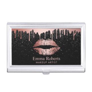 Porte-cartes De Visite Scintillement rose de lèvres d'or d'égoutture de