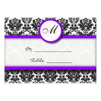 Porte-cartes pourpre et noir d'endroit de damassé carte de visite grand format