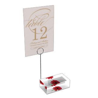 Porte-cartes rouge de Tableau de marguerite de Ger Porte-cartes De Table
