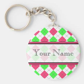 Porte - clé à motifs de losanges rose et vert porte-clé rond