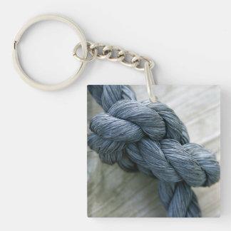 Porte - clé à simple face acrylique de noeud porte-clé carré en acrylique une face