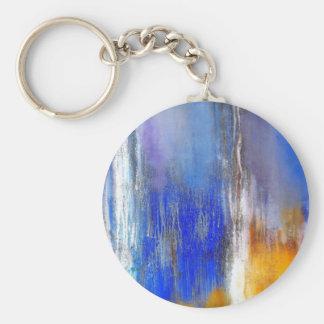 Porte - clé abstrait organique jaune bleu de porte-clés