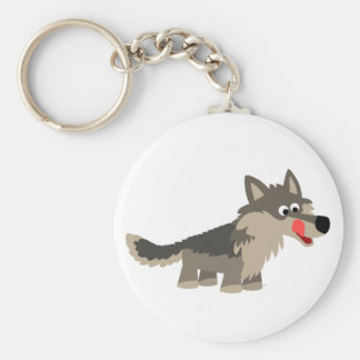 Porte - clé affamé de loup de bande dessinée porte-clé rond